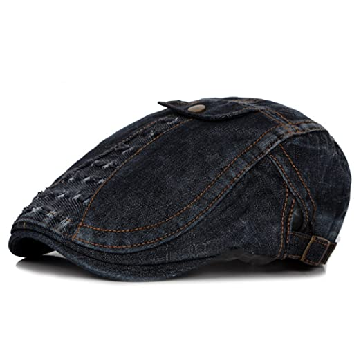 9b65c211b Denim Flat Newsboy Cap Vintage Jeans Caps Cowboy Cap Driver Hunting ...