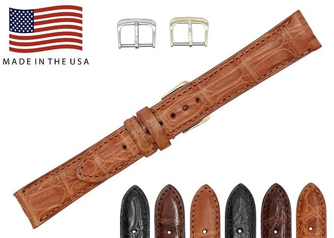Auténtica piel de cocodrilo – mate acolchado cosido – American Factory Direct – Repuesto reloj banda