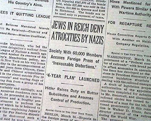 JEWISH HOLOCAUST Beginning German Boycott JEWS Jewish Businessess 1933 Newspaper