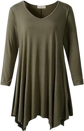 Women Ladies Asymmetrical Hem V-neck Tunic Tops Long Sleeve Loose Blouse T-Shirt
