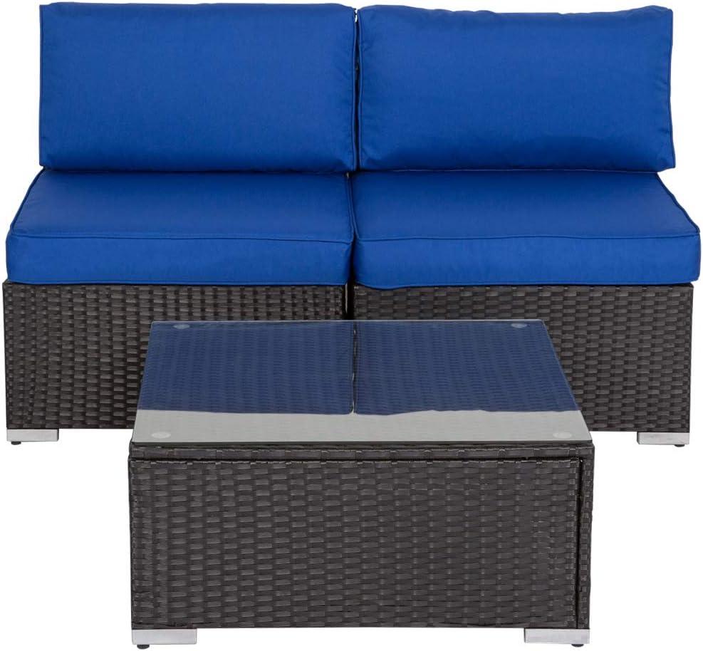 Outdoor Loveseat Black Rattan Wicker Furniture Sofa Set Infinitely Combination with Tea Table Kinsunny Peach Tree 3 PCs Patio Armless Chairs