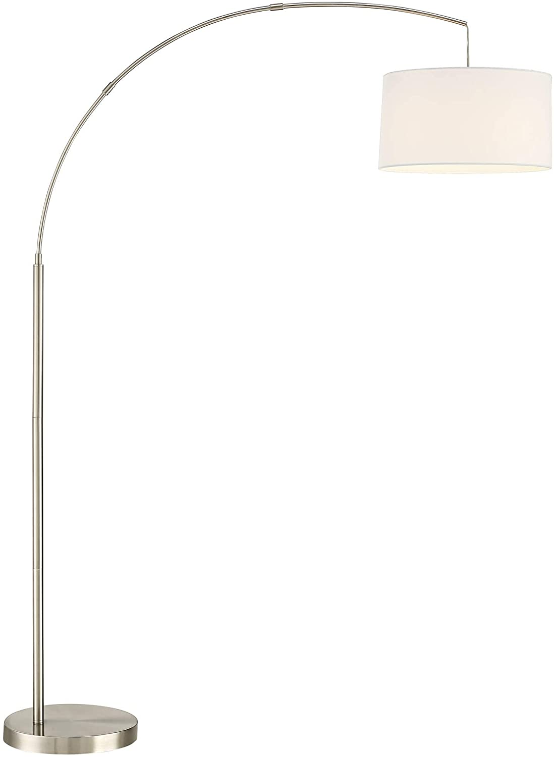 Cora Modern Contemporary Tall Arched Task Lamp Floor Standing Brushed Nickel Silver Off White Linen Fabric Drum Shade For Living Room Reading House Bedroom Home Decor Office 360 Lighting Amazon Com