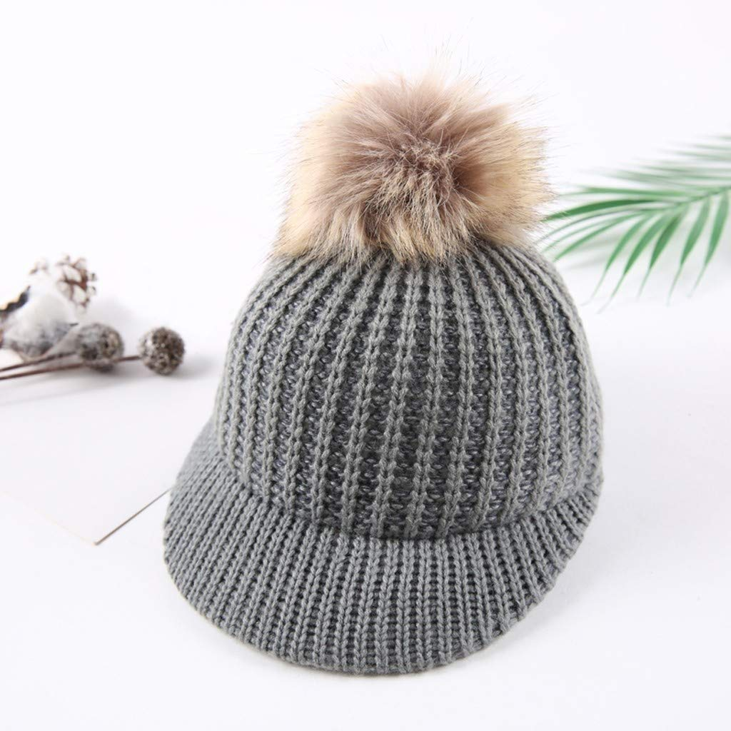 1-3T Toddler Girls Beret Cap Vinjeely Cute Pompom Solid Color Knitted Winter Warm Hat