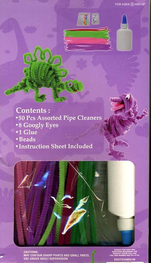 Boys Craft Kit Makes Dinosaurs Out of Pipe Cleaners - 50 Count