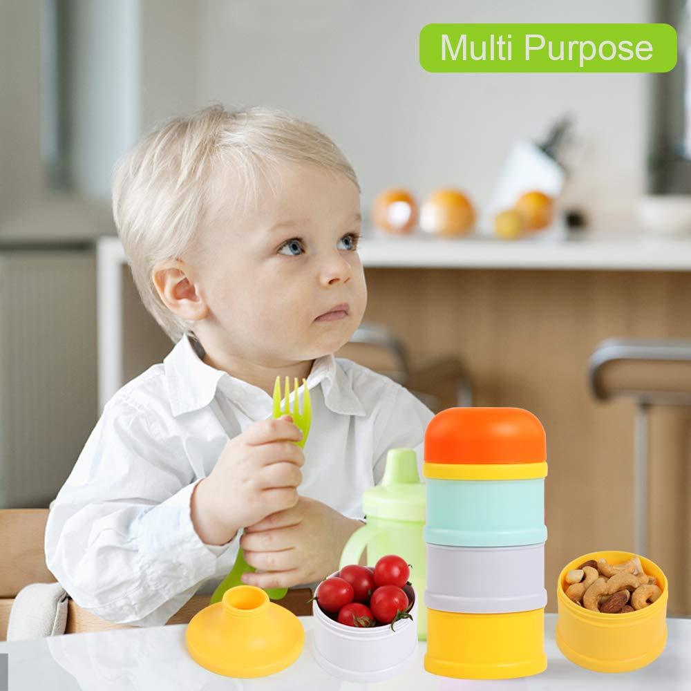 BelleStyle Dispensador de Formula 3 compartimentos Apilable Dispensador de Leche en Polvo y Almacenamiento BPA Densidad comida para viaje al aire libre