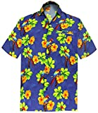 LA LEELA Likre Aloha Dress Men's Shirt Royal Blue 197 Large | Chest 44'' - 48''
