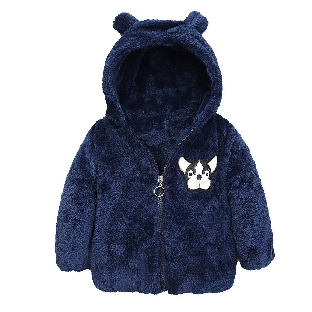 KONFA Toddler Baby Boys Girls Winter Warm Clothes,Cartoon Dog Thick Cotton Jacket Hooded Wind Coat,for 1-4 Years Kids