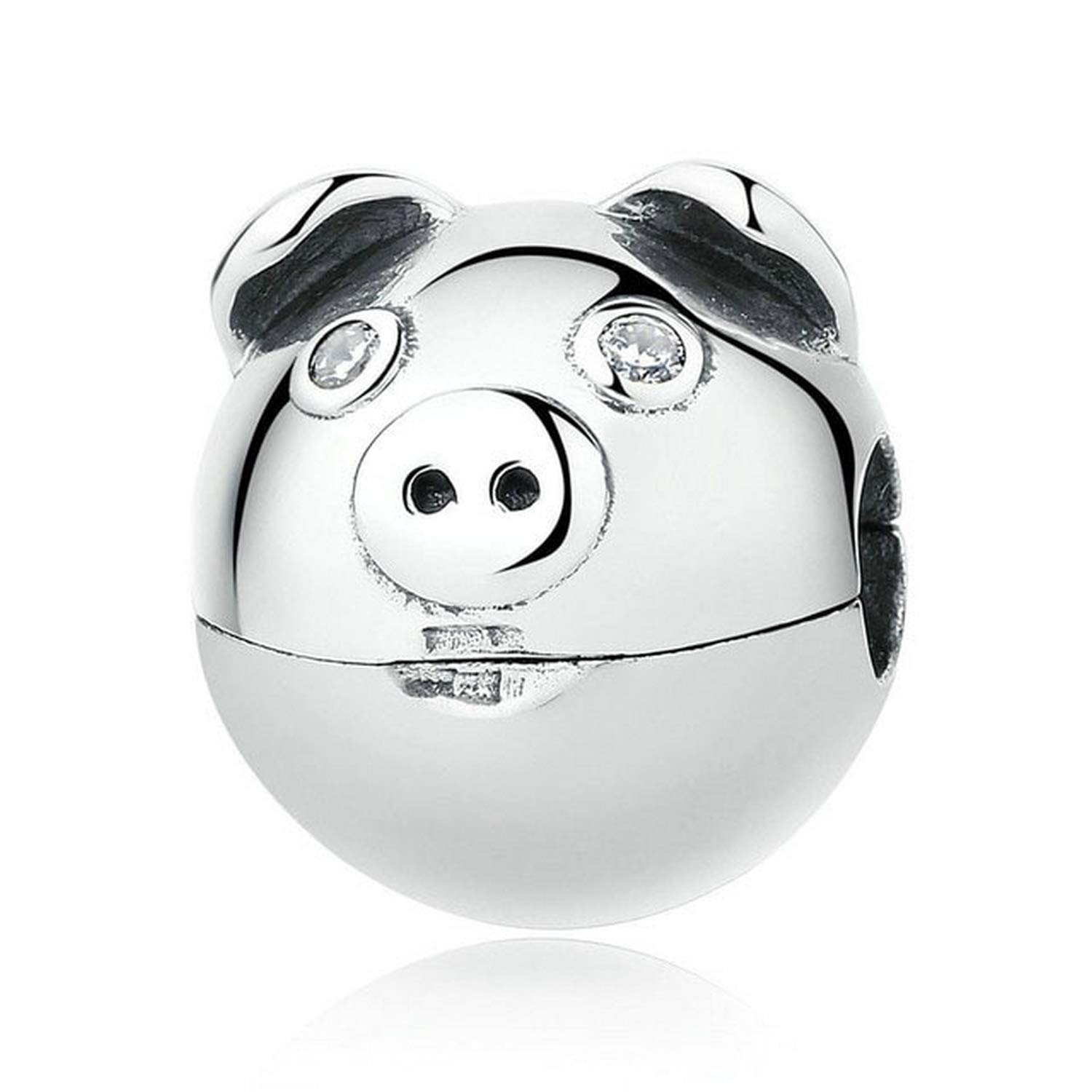 EverReena Beads Cute Pig Clip Charm for Silver Bracelets