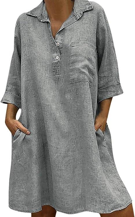 SMILEQ Vestido de Mujer Boho Sólido Camisa con Cuello doblado Falda Manga Tres Cuartos Casual Pocket Button Sundress: Amazon.es: Deportes y aire libre