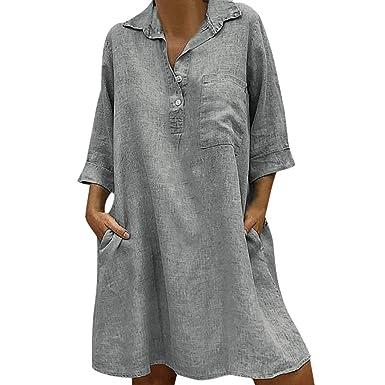 meilleure sélection a0d7b ee7c9 LEvifun Robe Longue Femme Chic Été Robe Bohème Casual Col ...