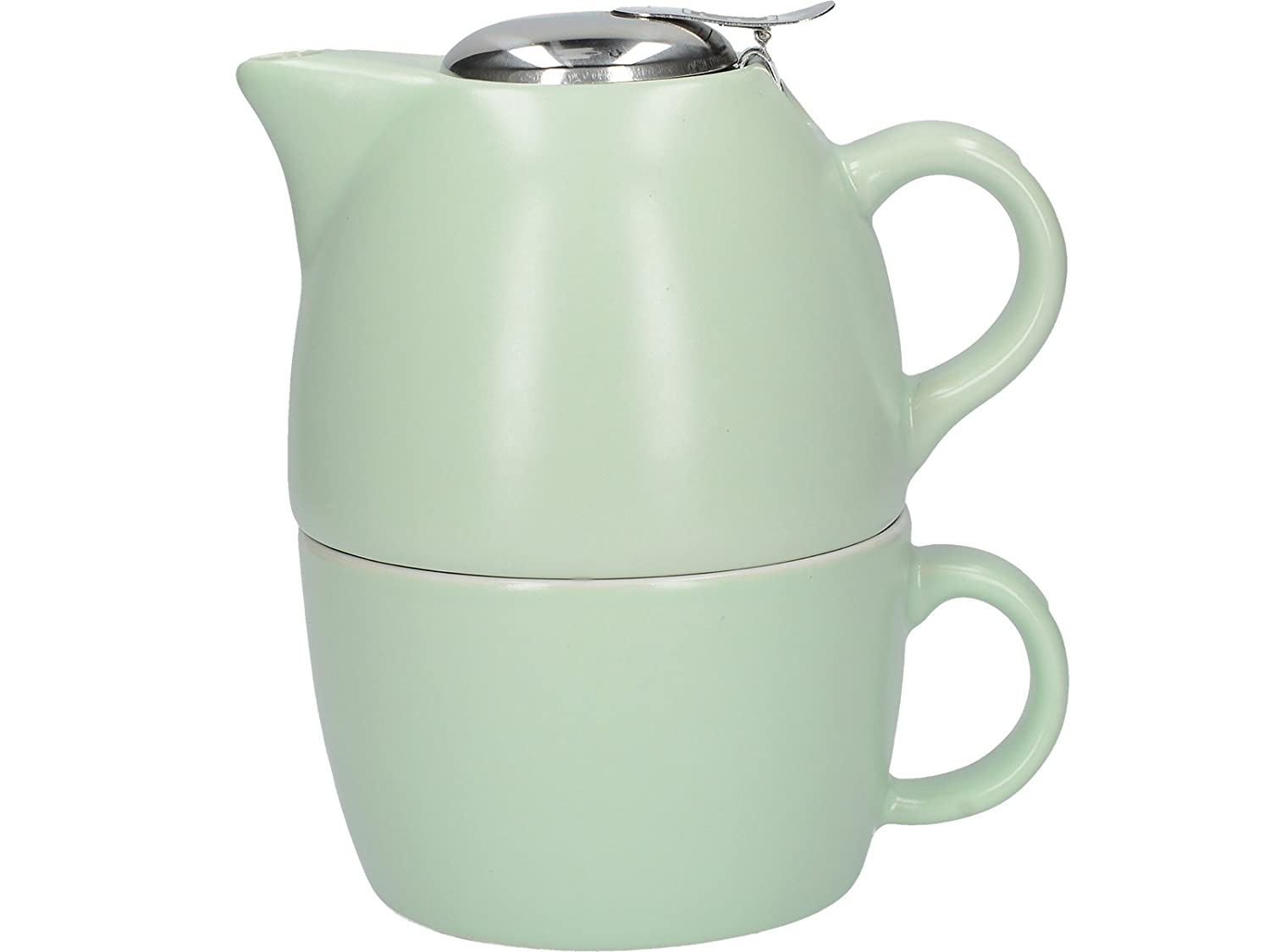 La Cafetière Barcelona Collection Tea For One Ceramic Tea Cup and Teapot Set – Pistachio Green La Cafetiere (UK) Limited 5212188