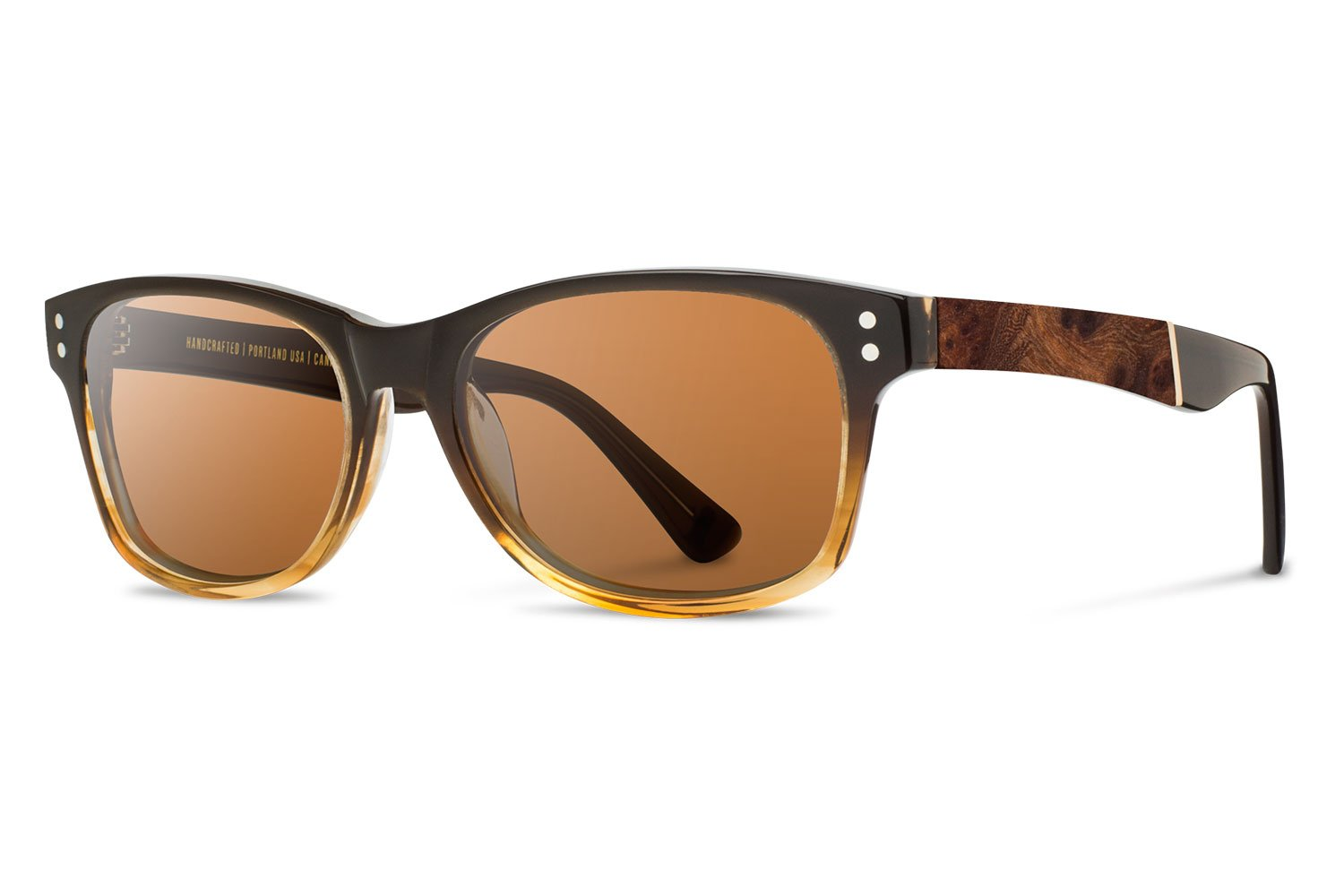 Shwood - Cannon Acetate, Sustainability Meets Style, Sweet Tea with Elm Burl Inlay, Brown Lenses by Shwood
