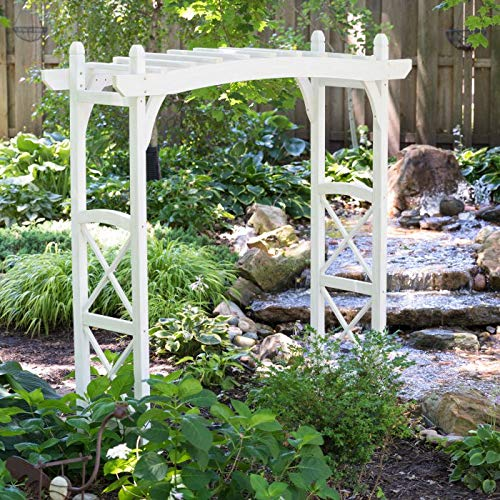 Home Improvements Outdoor 7 Foot Country Farmhouse White Wood Garden Arbor Yard Landscaping