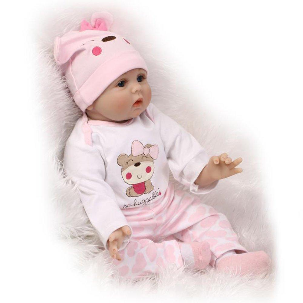 ZIYIUI Muñeca Reborn 55 cm 22 Pulgadas Bebe Reborn de Silicona Real Suave Vinilo Recién Nacido Bebé Reborn niñas Juguetes