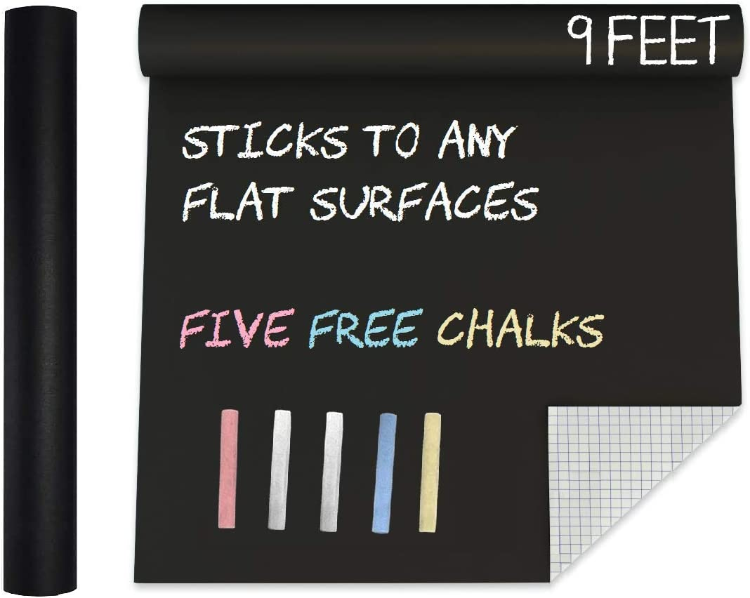 MMFB Arts Extra Large Blackboard Chalkboard Banner Vinyl Adhesive Paper (7.5 FEET) w/Free Color Chalks - Shelf Drawer Liner Wall Decal Poster Roll Paint Alternative - Peel & Stick Shape Silhouette : Office Products