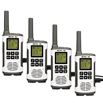 Retevis RT45 Walkie Talkie Recargable PMR446 sin Licencia Linterna LED Pantalla LCD Escaneo VOX Monitor 10 Tonos de Llamada Walkies con Cargador USB ...
