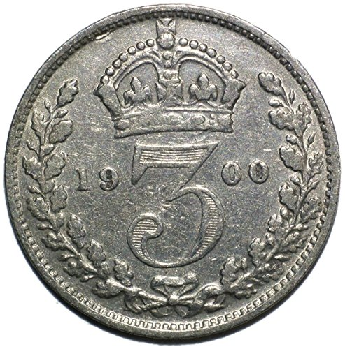 "1900 UK Queen Victoria British Silver ""Widow Head"" Threepence Very Choice About Uncirculated Details"
