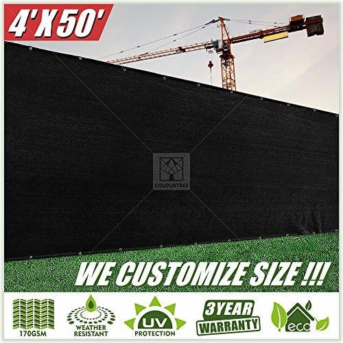 ColourTree 4 x 50 Black Fence Privacy Screen Windscreen, Commercial Grade 170 GSM Heavy Duty, We Make Custom Size