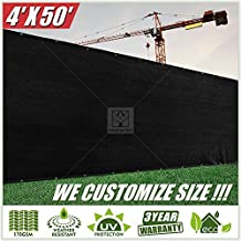 ColourTree 4' x 50' Fence Privacy Screen Windscreen Cover Fabric Shade Tarp Netting Mesh Cloth Black - Commercial Grade 170 GSM - Heavy Duty - 3 Years Warranty - CUSTOM SIZE AVAILABLE