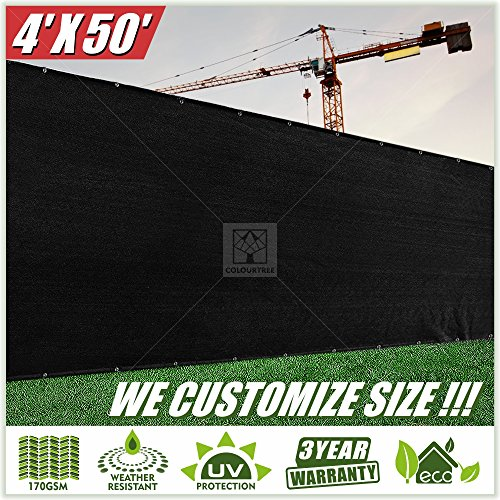 ColourTree 4' x 50' Black Fence Privacy Screen Windscreen Cover Fabric Shade Tarp Netting Mesh Cloth - Commercial Grade 170 GSM CUSTOM (4, 4' x 50'NewGeneration)