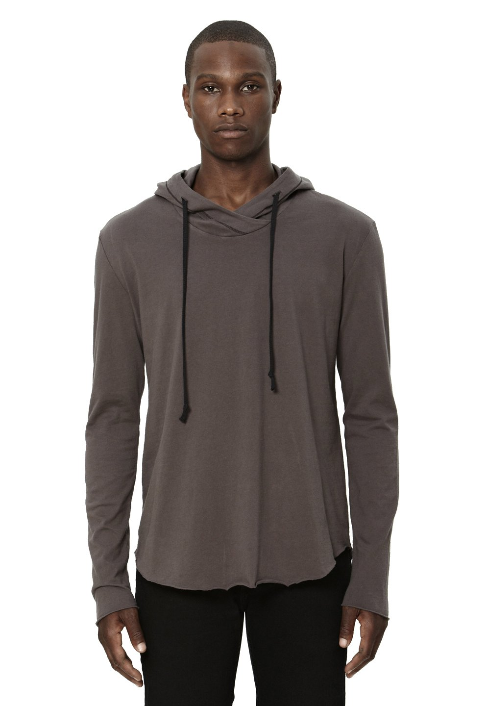 UNCOMMON THRDS Mens Raw Edge Hoodie Charcoal - Medium