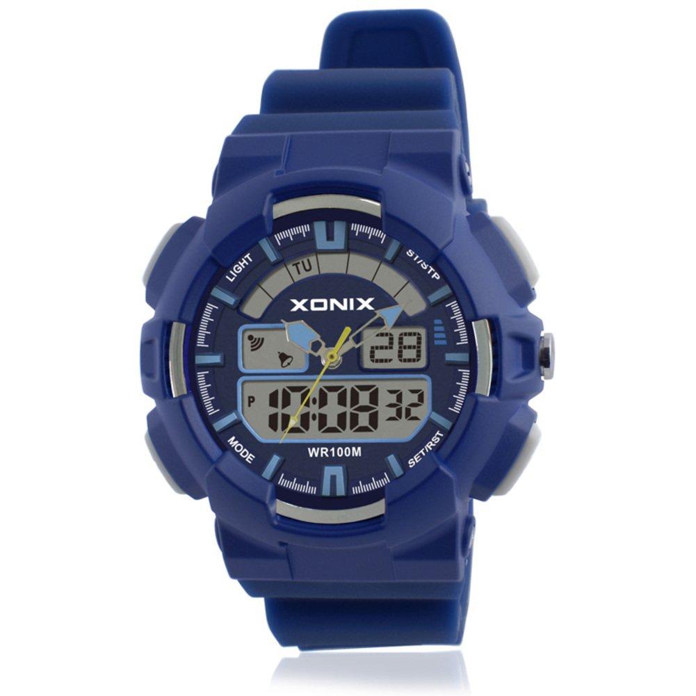 Children's multi-function digital electronic watch,Led 100 m waterproof resin alarm stopwatch dual time dual display girls or boys fashion wristwatch-C