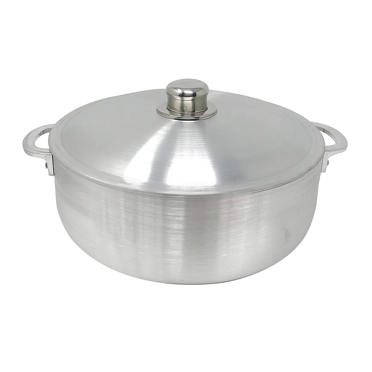 KITCHEN SENSE TRADITIONAL COLUMBIAN CAST ALUMINUM CALDERO BY AMERICAN DREAM SILVER STOCK POT WITH ALUMINUM LID -HEAVY GAUGE (6.9 Quarts)
