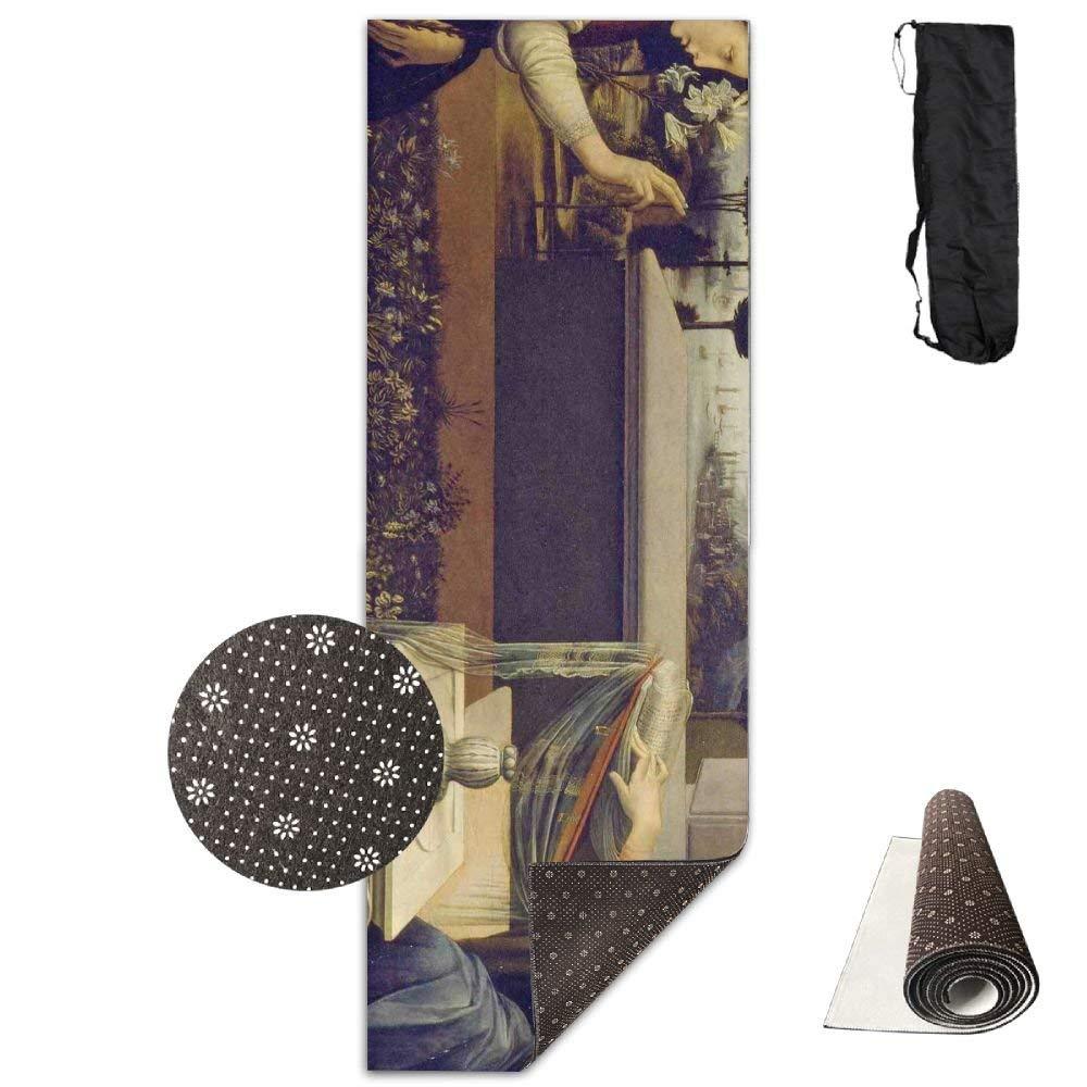 Annunciation Leonardo Da Vinci Deluxe,Yoga Mat Aerobic Exercise Pilates Anti-slip Gymnastics Mats by HOTSELL-Makemoney.forever (Image #1)