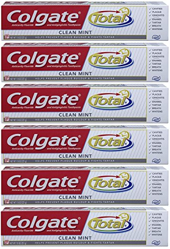 Colgate Total Fluoride Toothpaste, Clean Mint, 7.80 oz (Packs of 6)