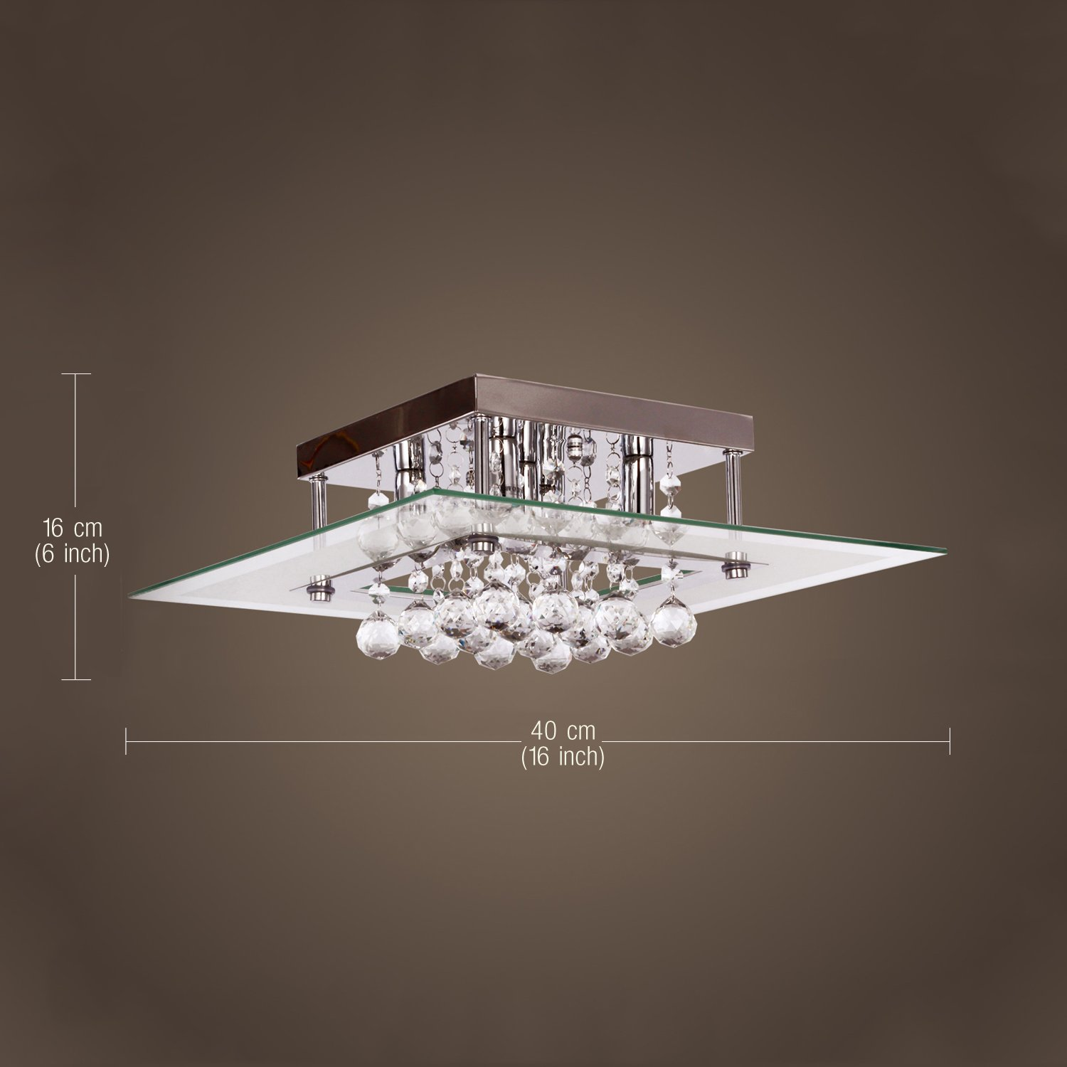 crystal drop flush mount lights with 5 lights in square design modern home ceiling light fixture flush mount pendant light