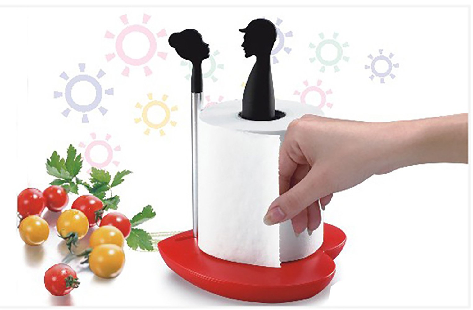 Standing Paper Towel Holder Fashion Stable Handle Simple Tearing Living Room Kitchen use (Black)