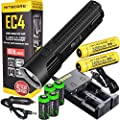 NITECORE EC4 1000 Lumen high intensity CREE XM-L2 LED tactical die-cast flashlight 2 X Genuine Nitecore NL189 18650 3400mAh Li-ion rechargeable batteries, Nitecore i2 intelligent Charger, in-Car Charging Cable and four EdisonBright CR123A Lithium Batterie