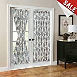 curtain panels for doors - French Door Panel Curtains Paisley Scroll Printed Linen Textured French Door Curtains 72 inches Long French Door Panels, Tieback Included, 1 Panel, Teal