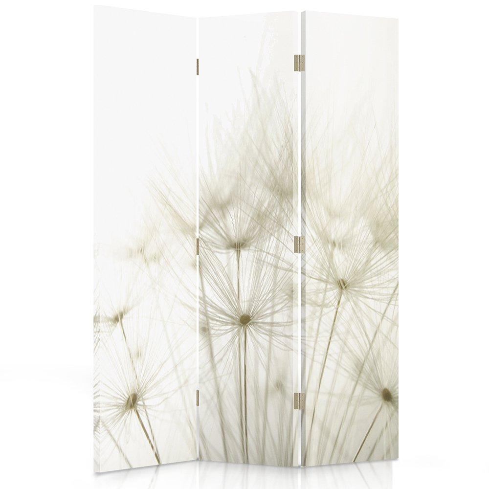 Feeby Frames Canvas Screen, Decorative RoomDivider, Paravent, Double sided, 3 panels (110x180 cm) DANDELION, NATURE, PLANTS, WHITE