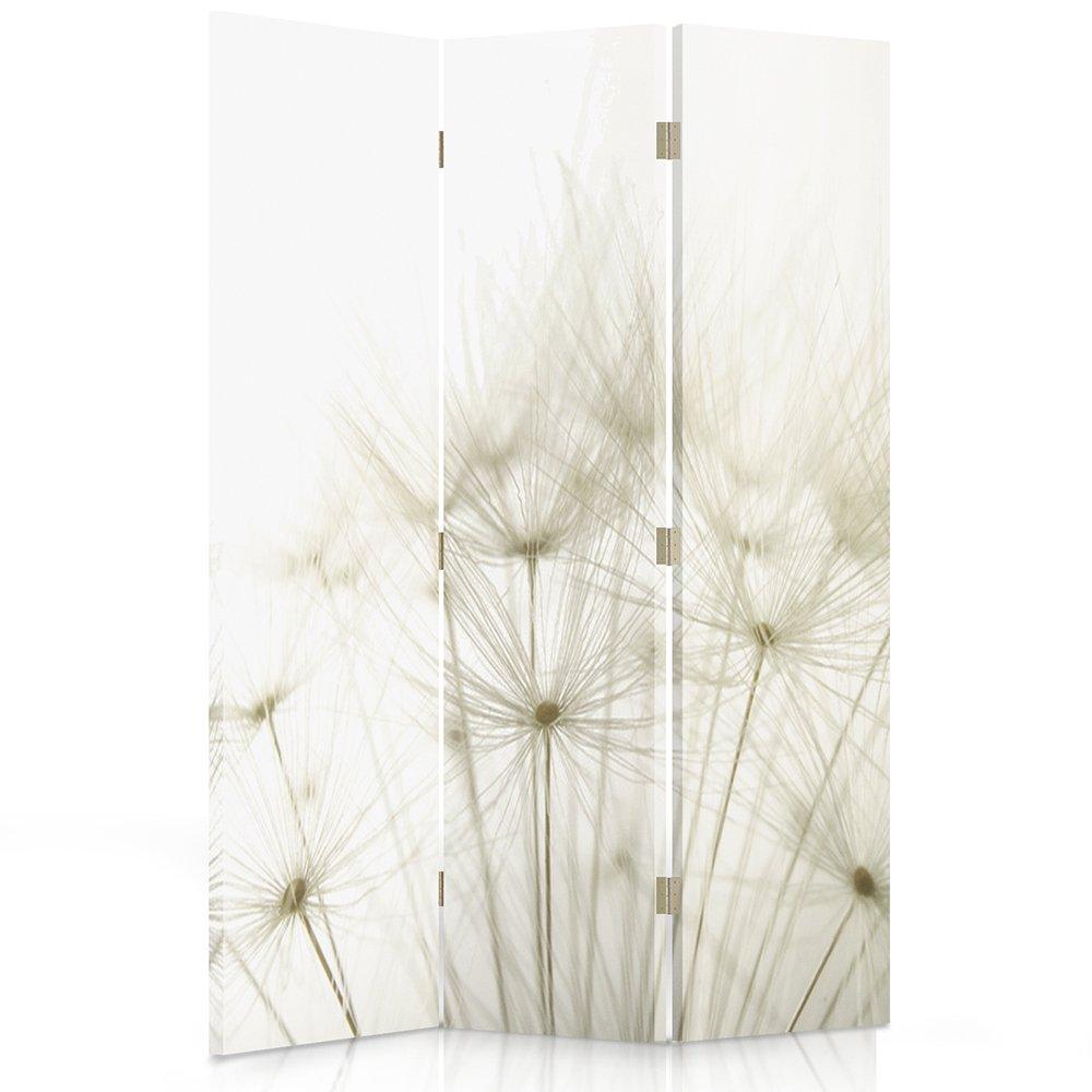 Feeby Frames Canvas Screen, Decorative Room Divider, Paravent, Single sided, 3 panels (110x150 cm) DANDELION,NATURE, PLANTS, WHITE