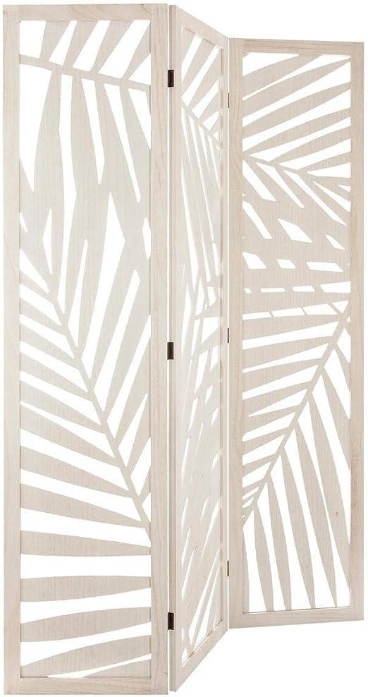 PierImport – Biombo Déco Madera Color Blanco Hojas Palmera Ref. 30022133: Amazon.es: Hogar