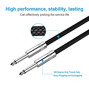 Guitar Cable 10 ft New bee Electric Instrument Cable Bass AMP Cord 1/4 Straight to Straight for Electric Guitar, Bass Guitar, Electric Mandolin, Pro Audio, Black (Color: Straight)