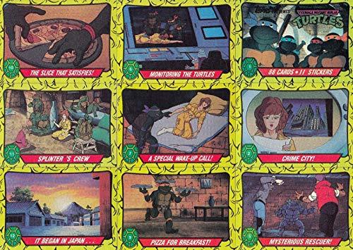 (TEENAGE MUTANT NINJA TURTLES CARTOON 1 1989 COMPLETE BASE CARD & STICKER SET 88 + 11 AN)
