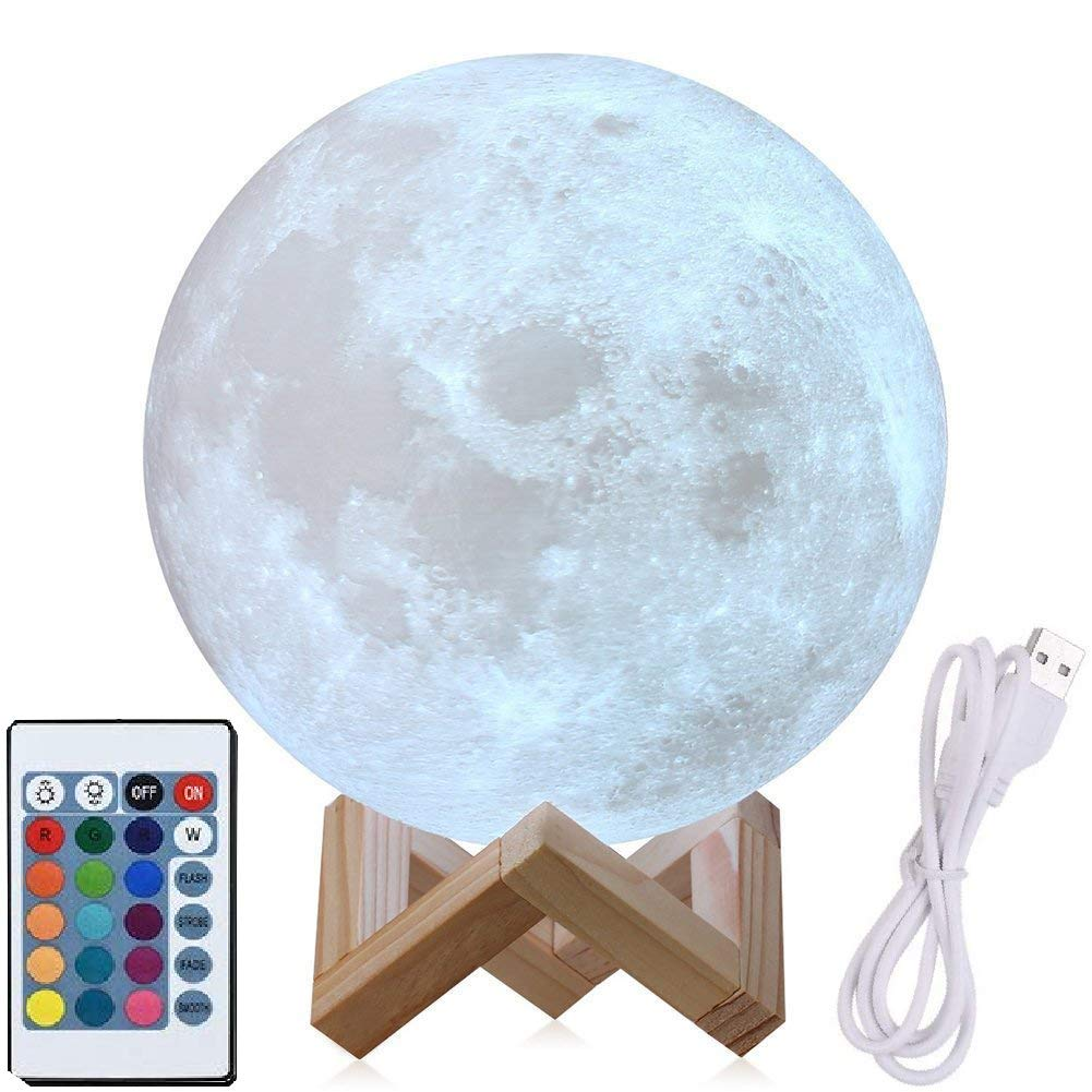 9'' Moon Lamp Large, Genuine Moon Light Lamps (6''- 11'')3D Printed Moon Light with Stand, The 3D Moon Lamp with LED 16 Colors,Touch Control and Remote Control(22.9CM)