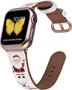 JSGJMY Compatible with Apple Watch Band 38mm 40mm with Case,Women Genuine Leather with Series 5/4/3 Rose Gold Adapter and Buckle for iwatch Series 5/4/3/2/1, White Christmas Series Pattern