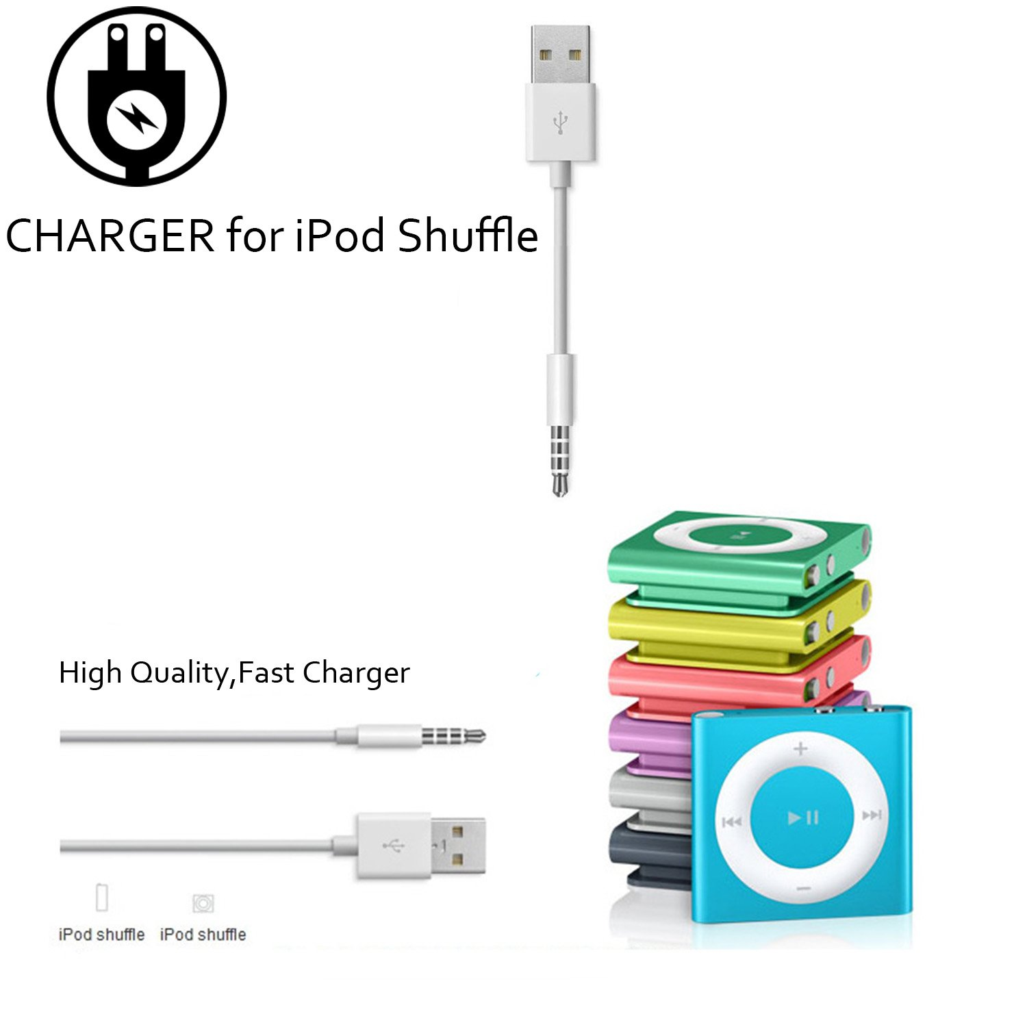 Amazon.com: iPod Shuffle Cable, DISDIM 2 Pack 3.5mm Jack/Plug to USB Charger  Sync Data Transfer Charging Cable for Apple iPod Shuffle 3rd / 4th / 5th /  6th ...