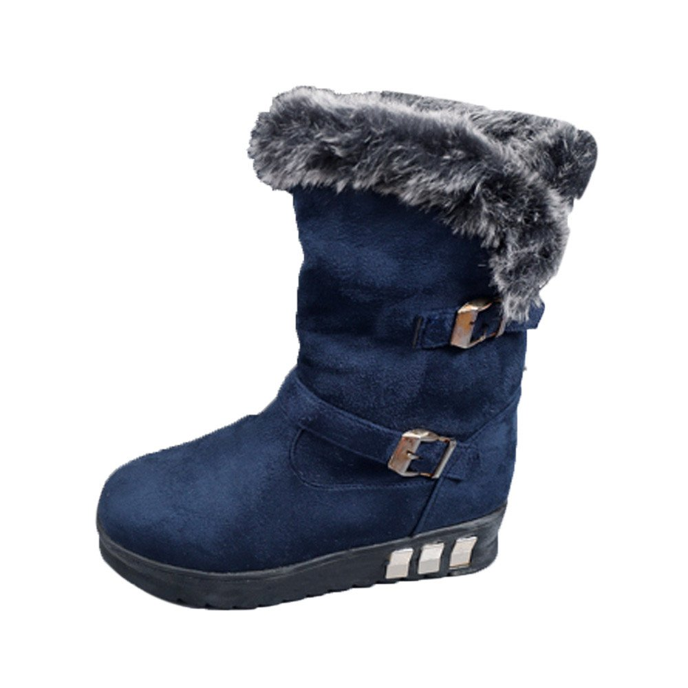Creazy Women Boots Slip-On Soft Snow Boots Round Toe Flat Winter Fur Ankle Boots (Blue, 39)