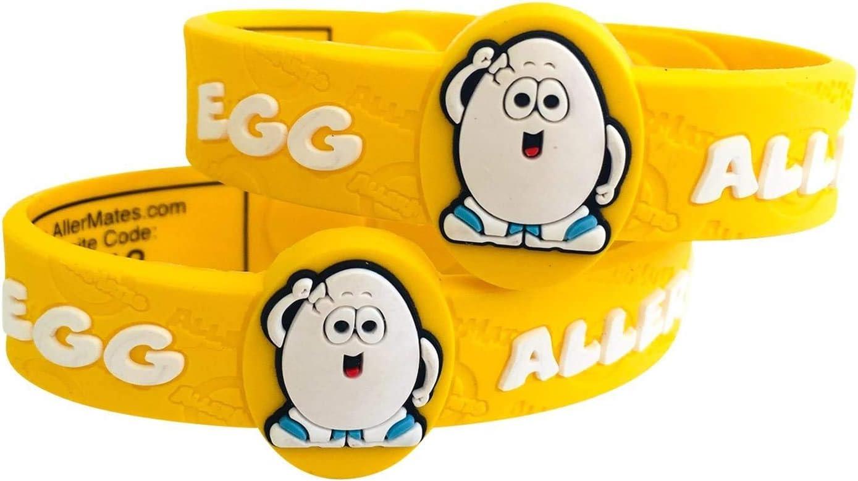 AllerMates Kids Medical Wristband - Egg Children's Medic Alert Allergy Awareness Bracelet (2 Pack)