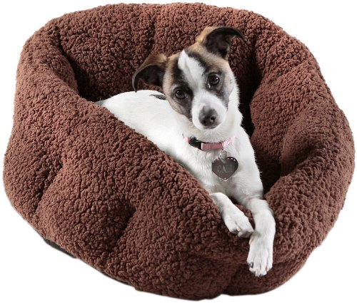 Best Friends by Sheri Deep Dish Sherpa / Faux Sheep Skin Cuddler Pet Bed, 19-by-17-Inches, Brown, My Pet Supplies
