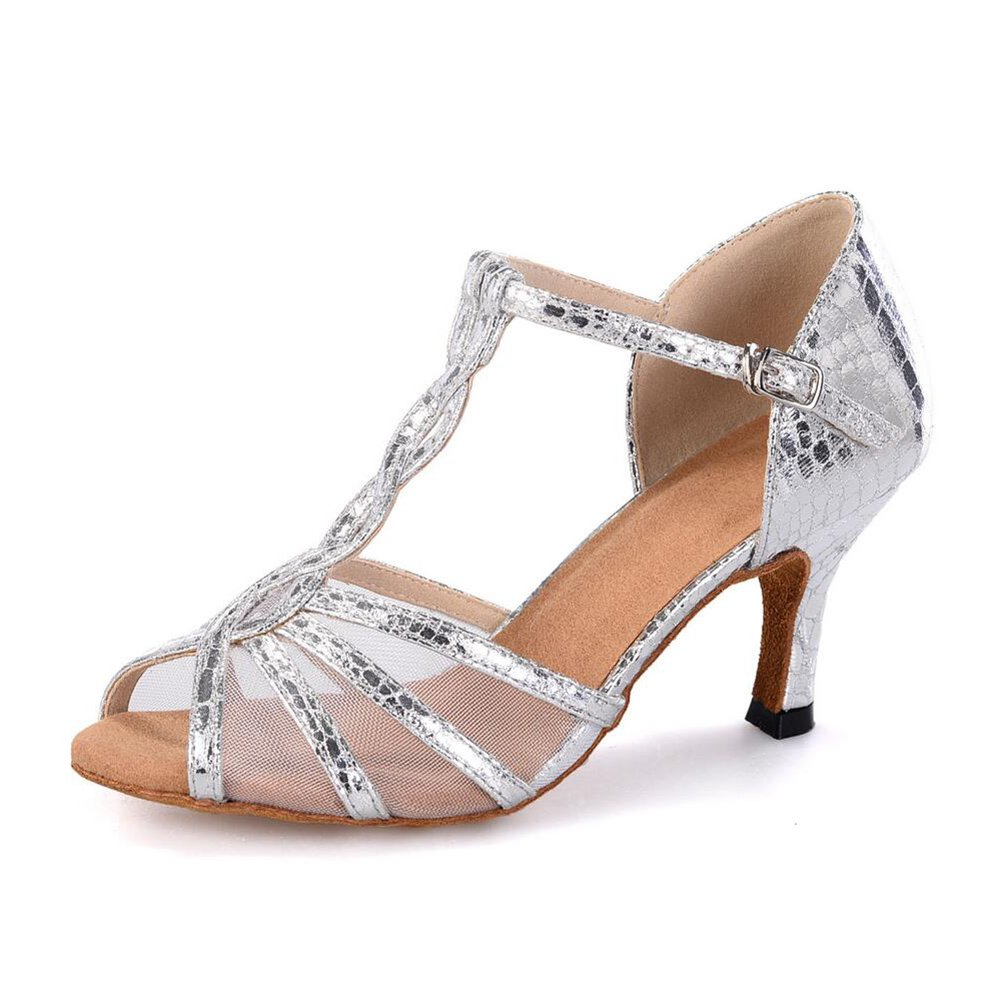 XUEXUE Women's Latin Shoes Leatherette Sandal Performance Buckle/Animal Print/Hollow-out Flared Heel Customizable Dance Shoes Party & Evening (Color : A, Size : 35)