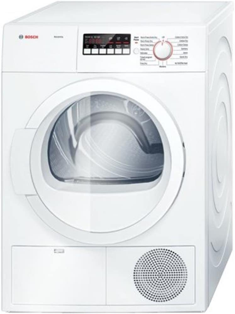 Bosch White Front Load Laundy Pair With WAT28400UC 24 300 Series Washer and WTB86200UC 24 Ascenta Series Electric Dryer