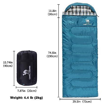 CAMEL CROWN Saco de Dormir Algodón Portátil con Almohada Saco de Compresión al Aire Libre 4 Estaciones para Acampar,Viajes,Camping,Senderismo,Mochilero ...