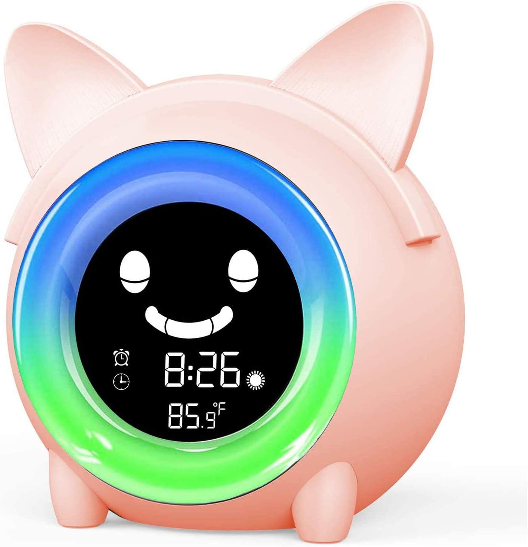 Rhinowalk Kids Alarm Clock,Childrens Sleep Trainer with Bluetooth 7 Color Night Light,Snooze//NAP Timer Function