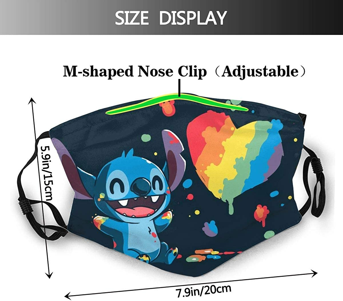 Stitch Outdoor Mask,Protective 5-Layer Activated Carbon Filters Adult Men Women Bandana