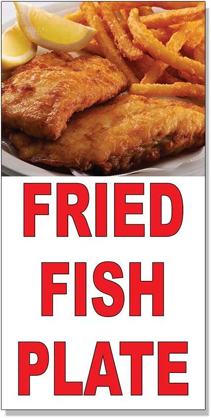 Fried Fish Plate Red Food Bar Restaurant Food Truck Decal Sticker Store Sign - 4.5 x 12 inches